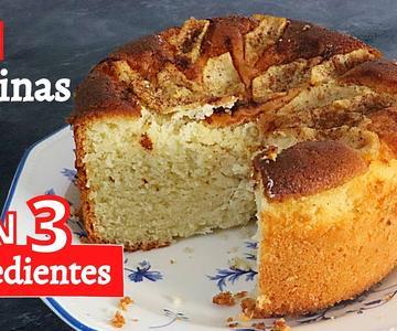 Bizcocho sin gluten, sin lactosa, sin polvo de hornear,SIN HARINAS (CON 3 INGREDIENTES)