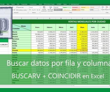 Excel - Buscar datos por fila y columna. Función BUSCARV + COINCIDIR en Excel. Español HD